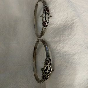 Silver peace sign hoops